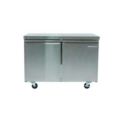 47 in. W 12 cu. ft. 2-Door Under Counter Freezer in Stainless Steel