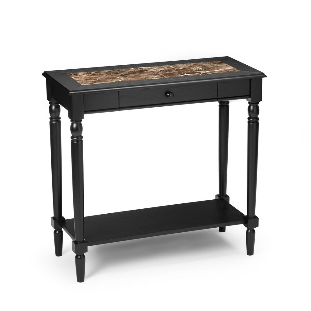 French Country Faux Marble and Black Hall Table