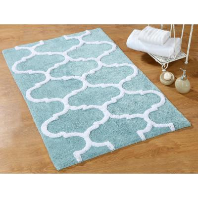 24 in. x 17 in. and 34 in. x 21 in. 2-Piece Cotton Bath Rug Set in Arctic Blue and White
