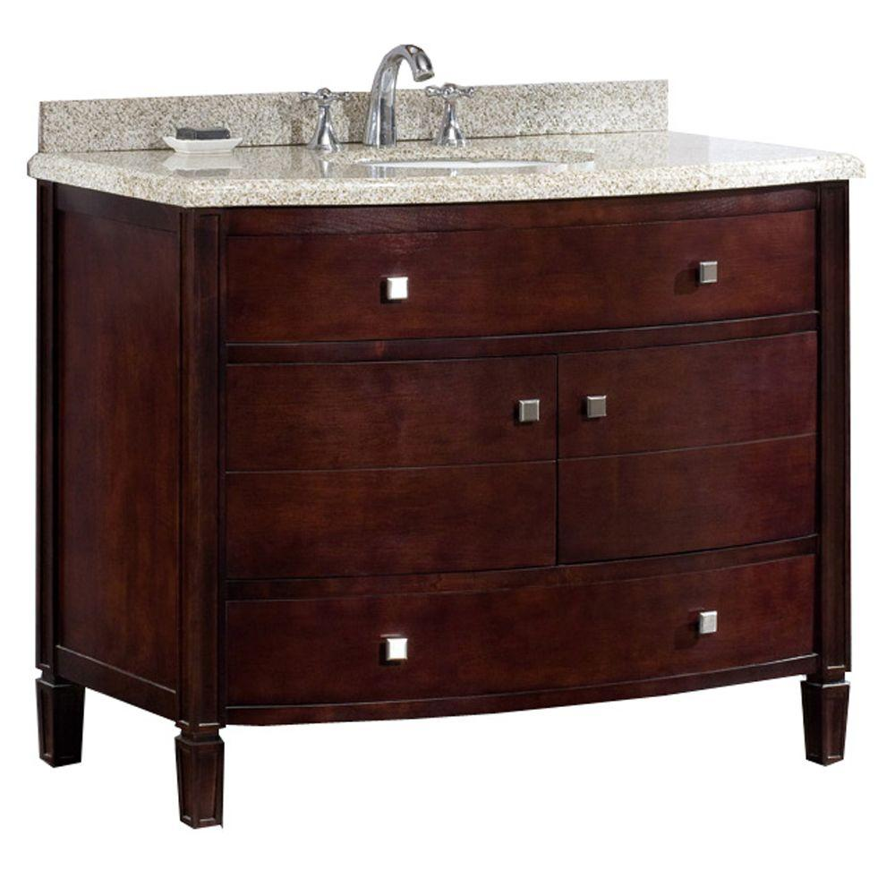 Ove Decors Georgia 42 In Vanity In Tobacco Stain With Granite Vanity Top In Beige Georgia 42