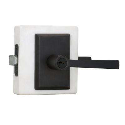 Reserve Taper Dark Bronze Keyed Entry Door Lever with Rustic Square Rose