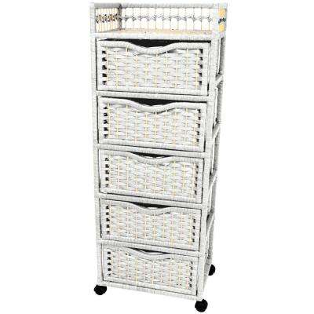 5-Drawer White Wheeled Natural Fiber Storage Chest