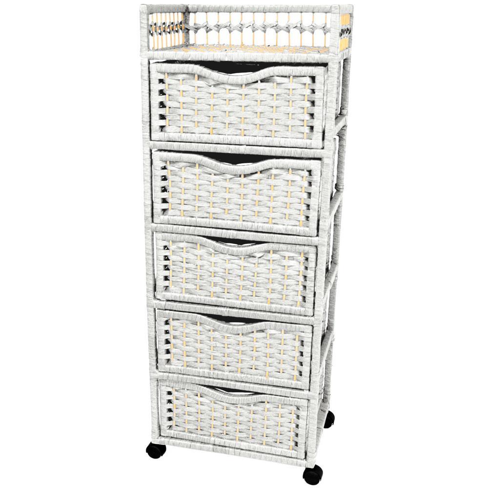 Oriental Furniture 5-Drawer White Wheeled Natural Fiber Storage Chest
