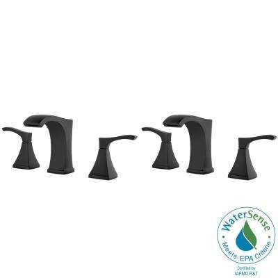 Venturi 8 in. Widespread 2-Handle Bathroom Faucet in Matte Black (2-Pack Combo)
