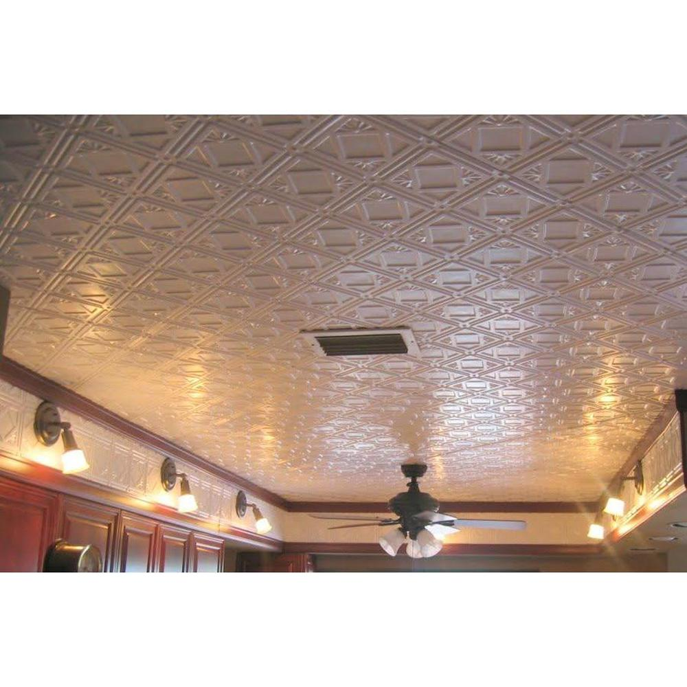 Global Specialty Products Dimensions Faux 2 ft. x 4 ft. Tin Style Ceiling and Wall Tiles in White