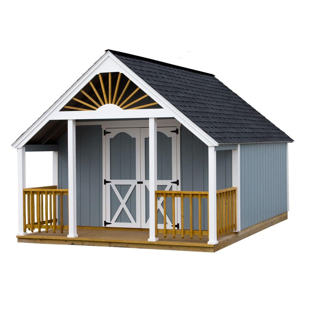 Best Barns Garden Shed 12 ft. x 16 ft. Wood Storage Shed Kit and 4 ft. Porch with Floor Including 4x4 Runners