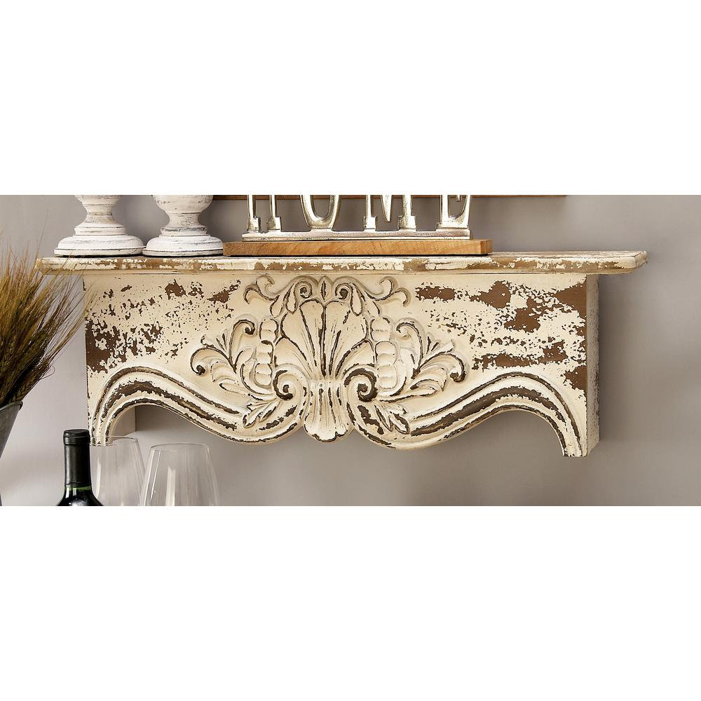 28 in. x 9 in. Rustic Carved Wooden Wall Shelf