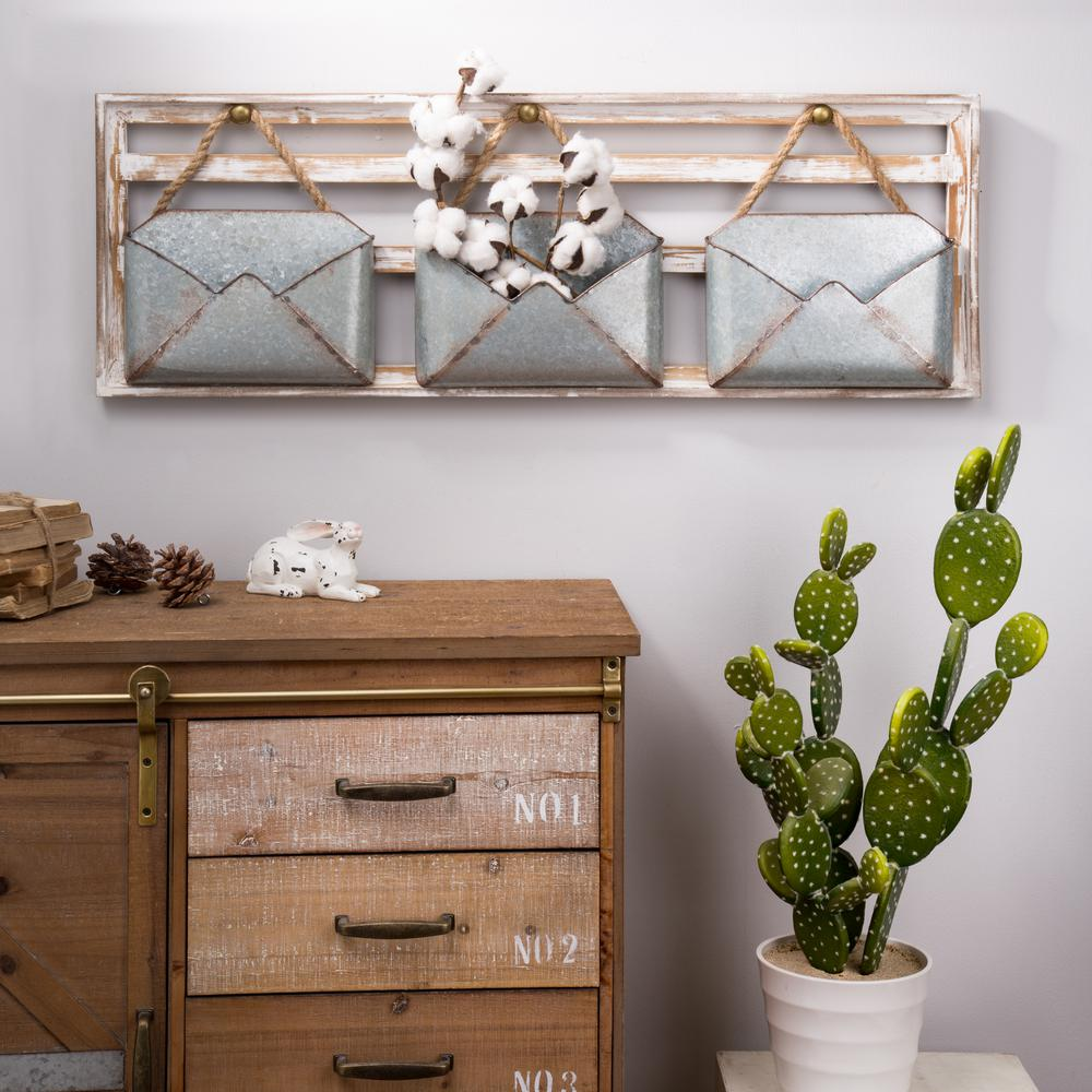 35.5 in. L Farmhouse Wooden Wall Decor with Galvanized Metal Containers