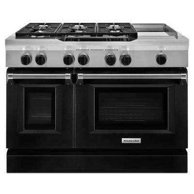 6.3 cu. ft. Double Oven Dual Fuel Commercial-Style Range with Griddle in Imperial Black