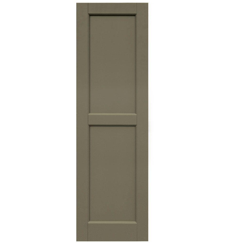 Winworks Wood Composite 15 in. x 50 in. Contemporary Flat Panel Shutters Pair #660 Weathered Shingle