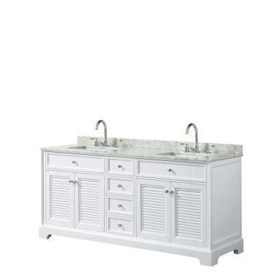 Tamara 72.75 in. Double Bathroom Vanity in White with Marble Vanity Top in White Carrara with White Basins