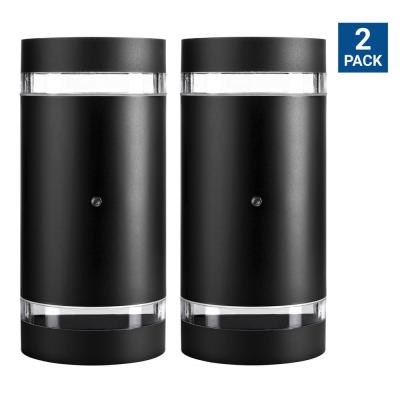 Small 12-Watt Black Integrated LED Outdoor Wall Cylinder Light with Photocell (2-Pack)