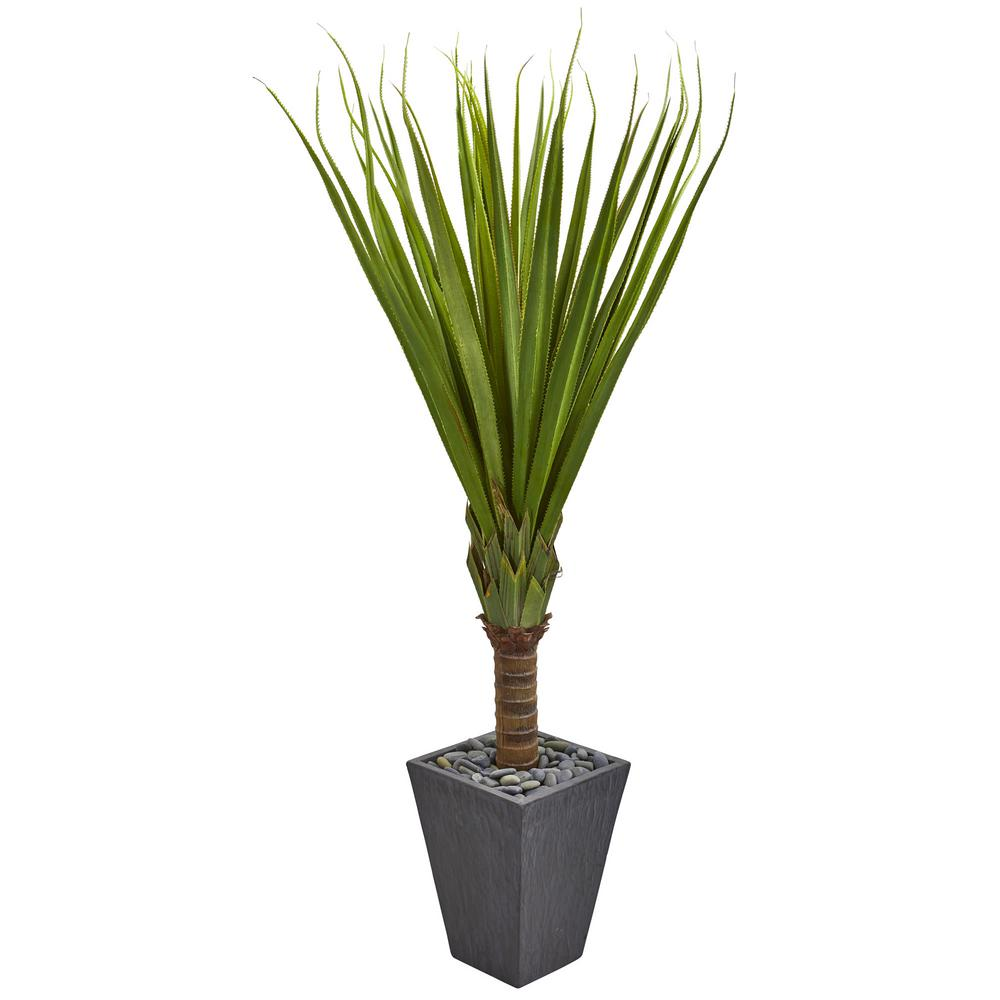 5.5 ft. Indoor Spiky Agave Artificial Plant in Slate Planter