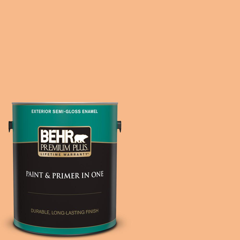 Behr Premium Plus 1 Gal 260c 3 Fresh Peaches Semi Gloss Enamel Exterior Paint And Primer In One 540001 The Home Depot