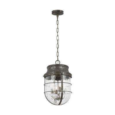 Parson 4-Light Distressed Silver Leaf Pendant with Water Glass Shade