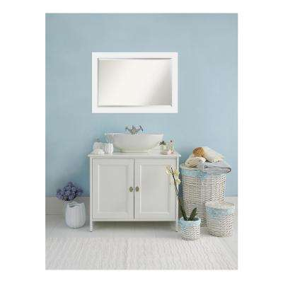 Corvino Satin White Wood 41 in. W x 29 in. H Single Contemporary Bathroom Vanity Mirror