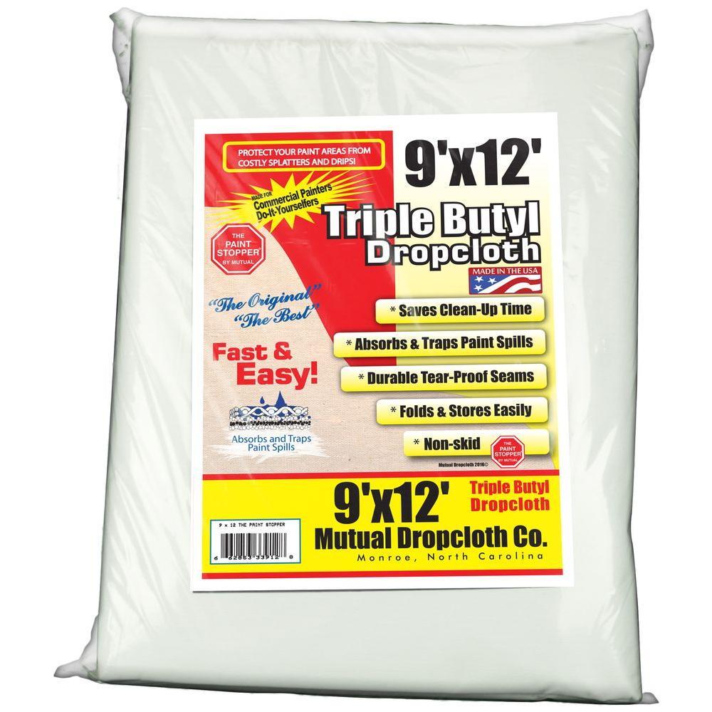 9 ft. x 12 ft. Triple Coated Butyl Drop Cloth White the Original Paint Stopper