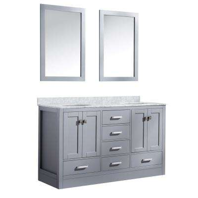 Chateau 60 in. W x 36 in. H Skirted Bath Vanity in Gray with Vanity Top in Carrara White with White Basins and Mirrors