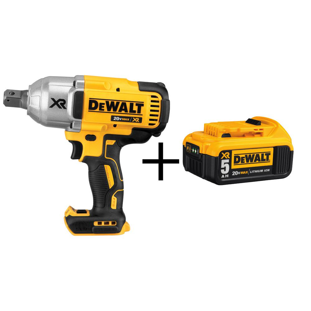 DEWALT 20-Volt MAX XR Lithium-Ion Cordless Brushless 3/4 in. Impact Wrench with Hog Ring Anvil (Tool-Only) w/ Free Battery 5Ah
