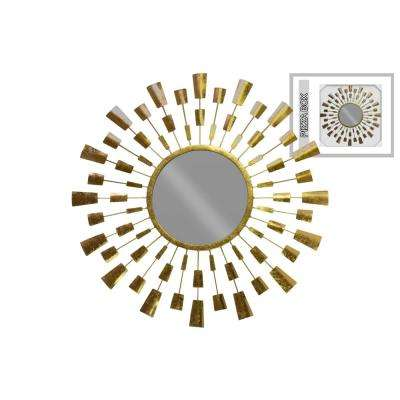 Round Gold Metallic Finish Wall Mirror