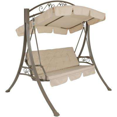 Deluxe 77 in. 2-Person Steel Framed Porch Swing with Canopy