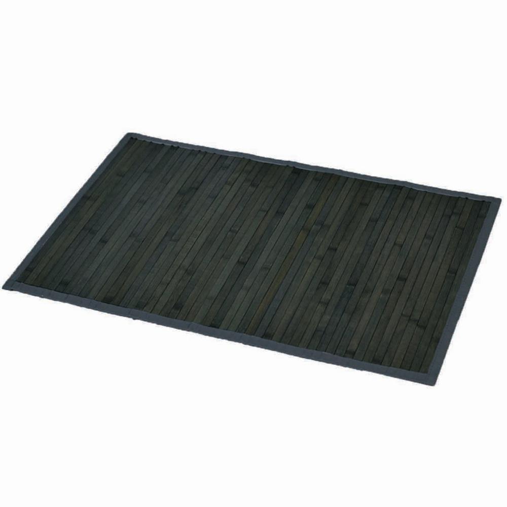 Gray-Old Green 31.5 in. L x 20 in. W Bamboo Rug Bath Mat Anti Slippery