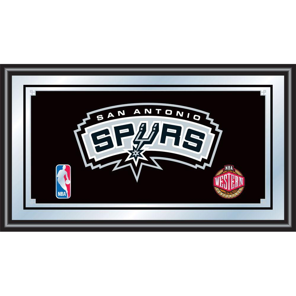 null San Antonio Spurs NBA 15 in. x 26 in. Black Wood Framed Mirror