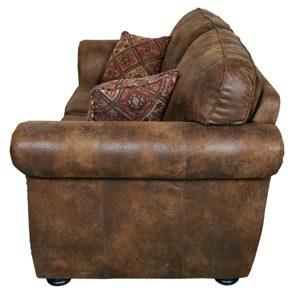 Elk River Brown Transitional Leather-Look with Nailhead Loveseat