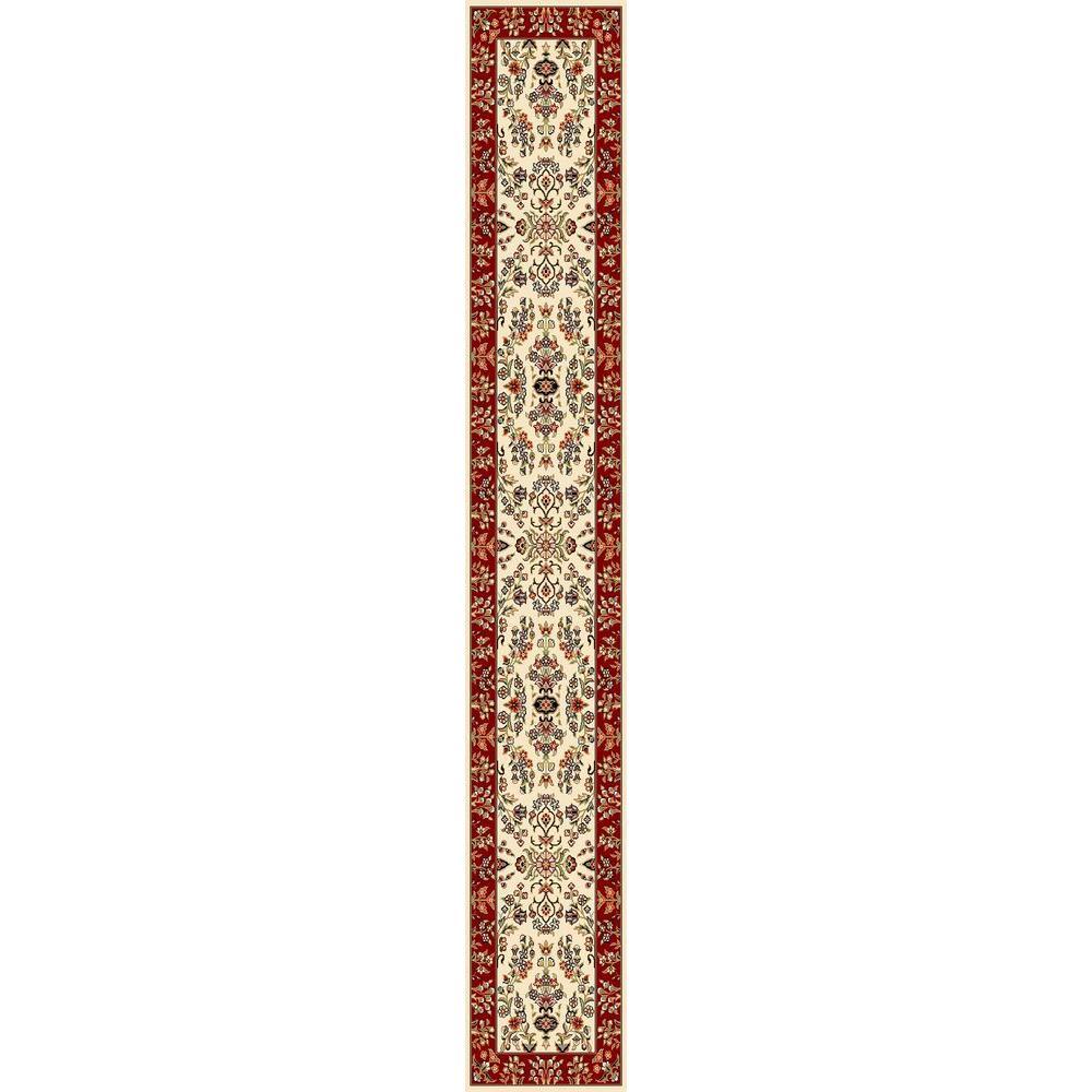 Lyndhurst Ivory/Red 2 ft. 3 in. x 16 ft. Runner