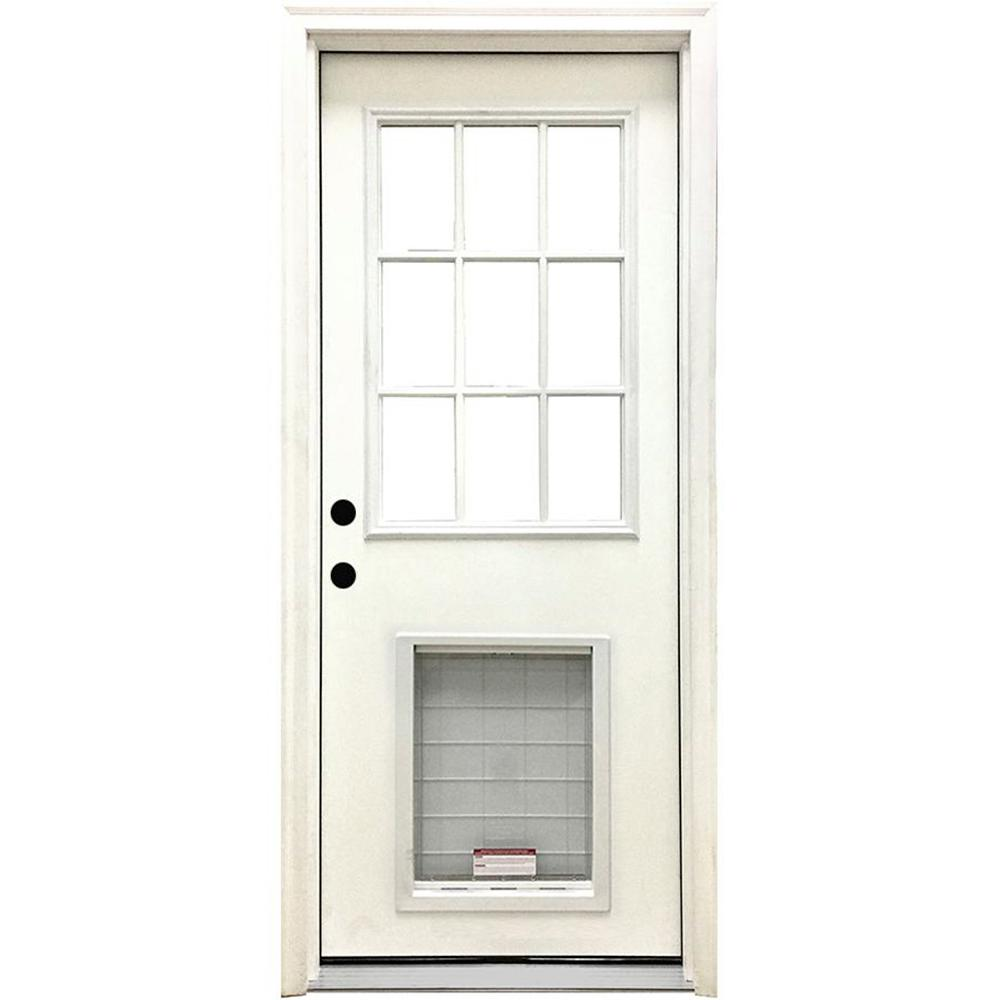 Steves & Sons 32 in. x 80 in. Classic Clear 9 Lite RHIS White Primed Fiberglass Prehung Front Door with SL Pet Door