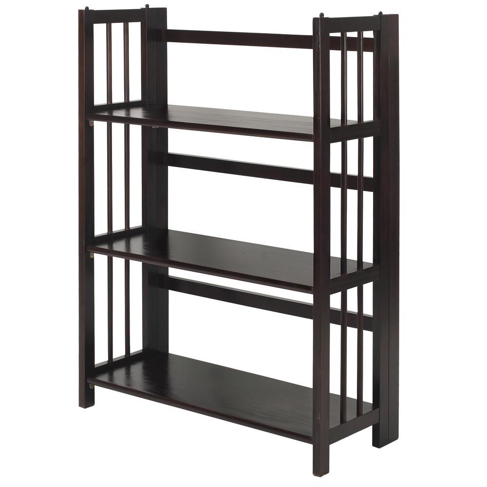 27.5 in. Wide Espresso 3-Shelf Folding Stackable Bookcase