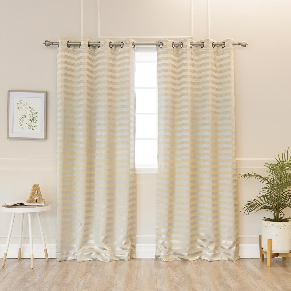 Best Home Fashion 84 In L Polyester Satin Stripe Curtains In Gold