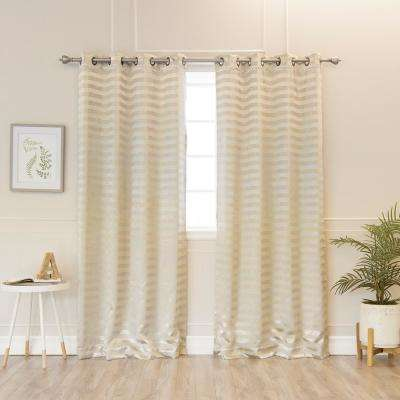 84 in. L Polyester Satin Stripe Curtains in Gold (2-Pack)