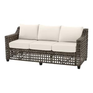 Briar Ridge Brown Wicker Outdoor Patio Sofa with CushionGuard Almond Tan Cushions
