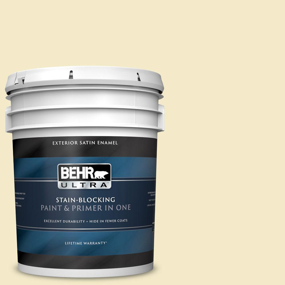 Behr Ultra 5 Gal P350 2 May Apple Satin Enamel Exterior Paint And Primer In One 985005 The Home Depot