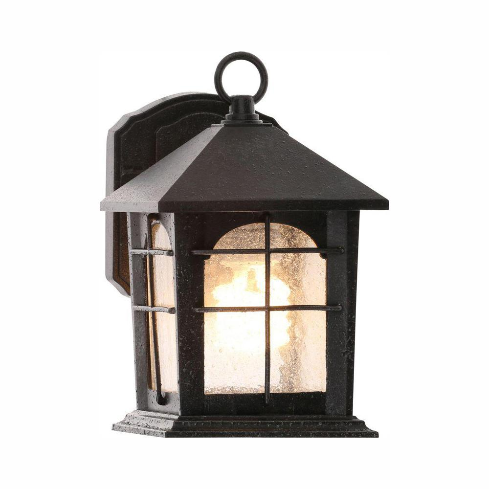 Home Decorators Collection Brimfield 1-Light Aged Iron Outdoor Wall Lantern Sconce