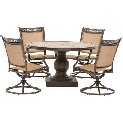 Fontana 5-Piece Aluminum Round Outdoor Dining Set with Swivels and Tile-Top Pedestal Table