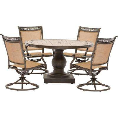 Fontana 5 Piece Aluminum Round Outdoor Dining Set With Swivels And Tile Top Pedestal Table