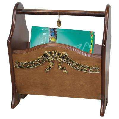 12.2 in. W x 9 in. D x 14 in. H Elegant Solid Wood Magazine Holder with Gold Bow