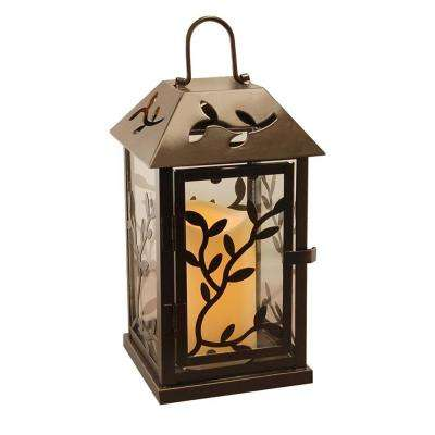 5.3 in. x 9 in. Black Vine Metal Lantern with LED Candle