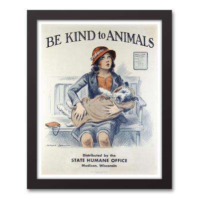 """14 in. x 11 in. """"Be Kind to Animals Scene II"""" Printed Framed Canvas Wall Art"""
