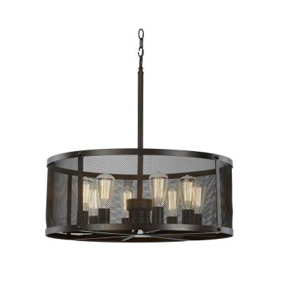 Mesh 8-Light Rubbed Oil Bronze Pendant