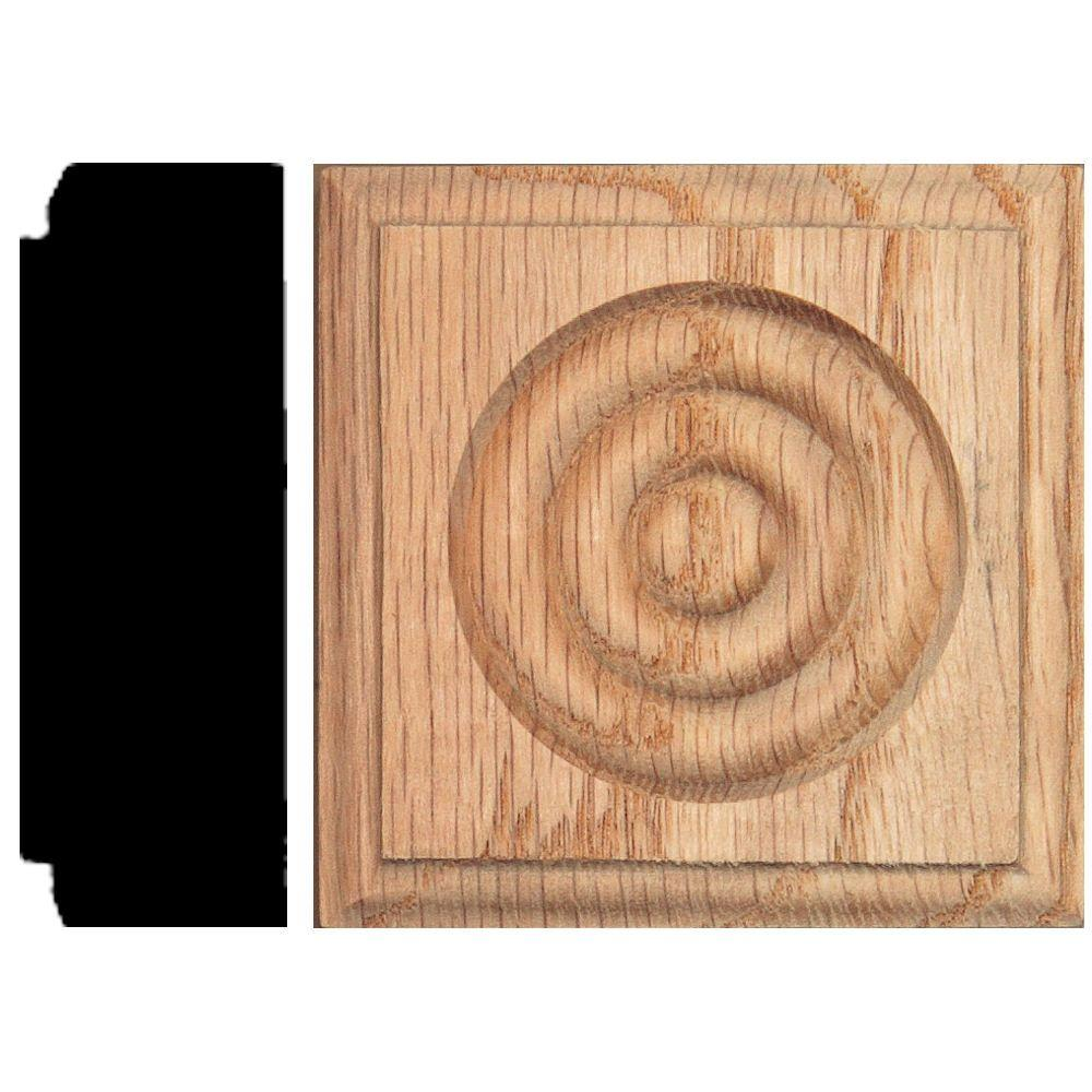 House of Fara 7/8 in. x 2-1/2 in. x 2-1/2 in. Oak Rosette Block