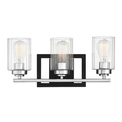 3-Light Matte Black with Polished Chrome Accents Bath Vanity Light with Clear Ribbed Glass