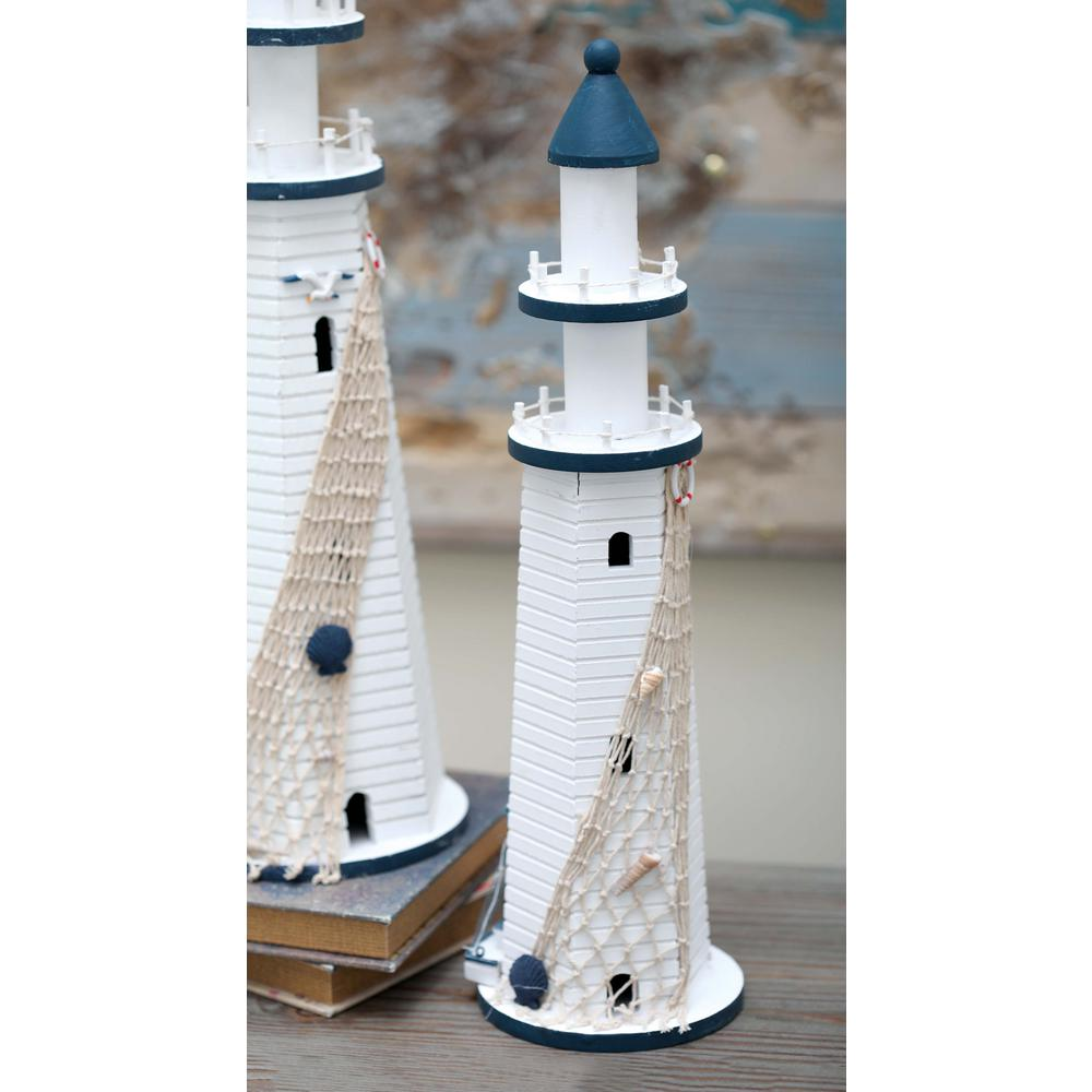 7 in. x 22 in. Wooden Lighthouse Decorative Sculpture in Blue and ...
