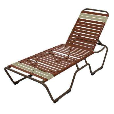 Marco Island Brownstone Commercial Grade Aluminum Patio Chaise Lounge with Saddle and Putty Vinyl Straps (2-Pack)