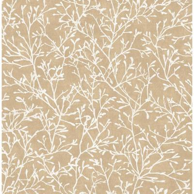 Gold Floral Twigs Wallpaper