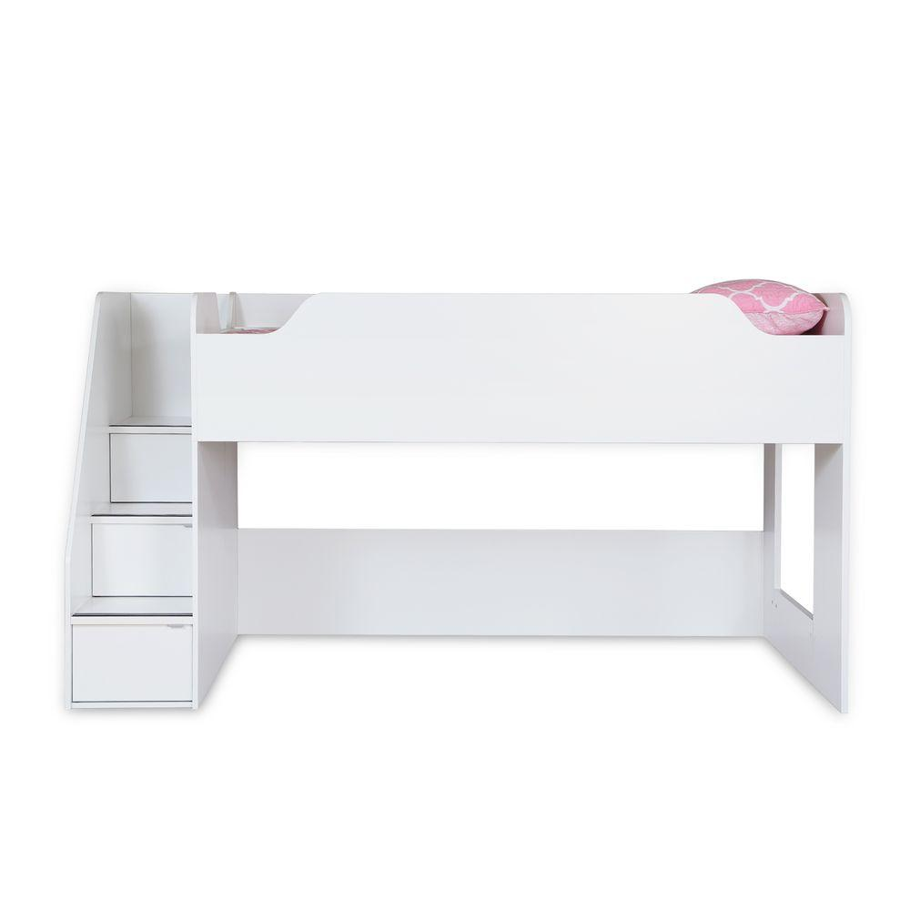 south shore mobby pure white twin size loft bed 3880087 the home depot rh homedepot com south shore logik twin loft bed south shore mobby twin loft bed