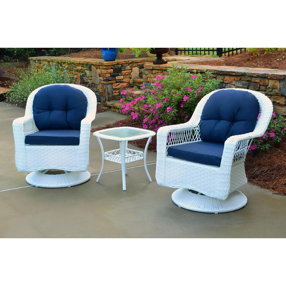 Enjoyable Tortuga Outdoor Biloxi White 3 Piece Wicker Outdoor Bistro Set With Navy Cushions Beatyapartments Chair Design Images Beatyapartmentscom