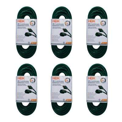 50 ft. 16/3 Indoor/Outdoor Landscape Extension Cord, Green (6-Pack)